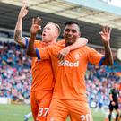 Rangers Alfredo Morelos (right) celebrates scoring his side's first goal