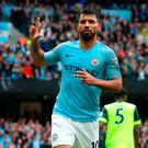Manchester City's Sergio Aguero celebrates scoring his side's fifth goal