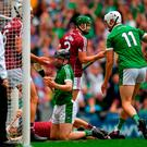 Graeme Mulcahy of Limerick celebrates after scoring his sides first goal during the GAA Hurling All-Ireland Senior Championship Final match between Galway and Limerick at Croke Park in Dublin. Photo by Eóin Noonan/Sportsfile