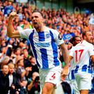 Shane Duffy celebrates scoring his side's second goal