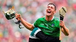 Seán Finn of Limerick celebrates after the final whistle following the GAA Hurling All-Ireland Senior Championship Final match between Galway and Limerick at Croke Park in Dublin. Photo by Brendan Moran/Sportsfile