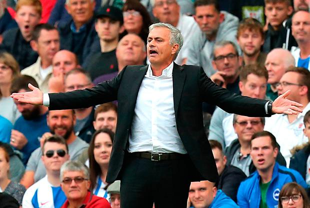 Manchester United manager Jose Mourinho gestures on the touchline during the Premier League match at the AMEX Stadium, Brighton. PRESS ASSOCIATION Photo. Picture date: Sunday August 19, 2018. See PA story SOCCER Brighton. Photo credit should read: Gareth Fuller/PA Wire. RESTRICTIONS: EDITORIAL USE ONLY No use with unauthorised audio, video, data, fixture lists, club/league logos or