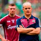 Galway manager Micheál Donoghue and Joe Canning of Galway following the GAA Hurling All-Ireland Senior Championship Final match between Galway and Limerick at Croke Park in Dublin. Photo by Brendan Moran/Sportsfile