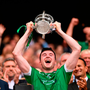 Declan Hannon of Limerick lifts the Liam McCarthy Cup