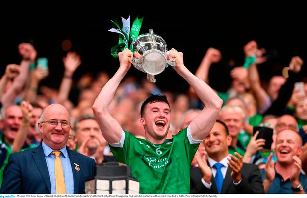 19 August 2018; Declan Hannon of Limerick lifts the Liam McCarthy Cup following the GAA Hurling All-Ireland Senior Championship Final match between Galway and Limerick at Croke Park in Dublin. Photo by Stephen McCarthy/Sportsfile