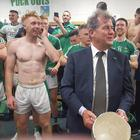 Jp McManus was in the Limerick dressingroom after their famous win. Twitter credit: @mattocall