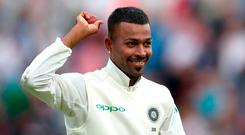Pandya's glory day came from leftfield as he took four wickets for eight runs off 11 balls on the way to a career best five for 28 in a match dominated so far by exaggerated swing. Photo: Tim Goode/PA Wire