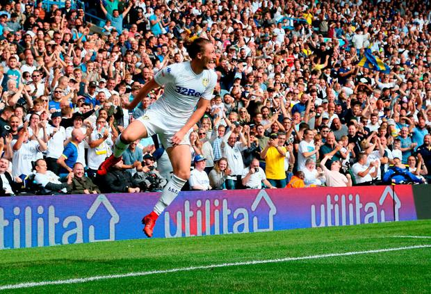 Leeds United's Luke Ayling celebrates scoring his side's first goal of the game. Photo: Richard Sellers/PA Wire