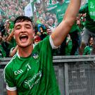 Kyle Hayes of Limerick following their victory in the GAA Hurling All-Ireland Senior Championship Final match between Galway and Limerick at Croke Park in Dublin. Photo by Ramsey Cardy/Sportsfile