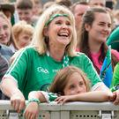 Limerick fans Amanda Tobin and Isobel Tobin O'Donoghue from Garryspillane at the Gaelic Grounds Limerick. Photo: Don Moloney / Press 22
