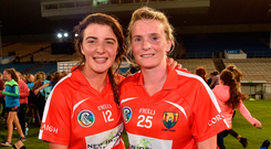 Teamwork: Cork players Linda Collins and Briege Corkery after the game. Photo: Matt Browne/Sportsfile