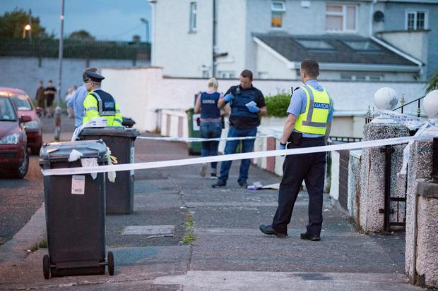 Gardai at the scene of the fatal stabbing at a house on Rutland Grove, Crumlin. Photo: Arthur Carron