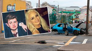 Crash victims Conall McAleer and Shiva Devine inset, and the scene of the crash