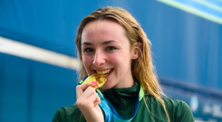 19 August 2018; Ellen Keane of Ireland celebrates with her gold medal after winning the final of the Women's 100m Breaststroke SB8 event during day seven of the World Para Swimming Allianz European Championships at the Sport Ireland National Aquatic Centre in Blanchardstown, Dublin. Photo by David Fitzgerald/Sportsfile