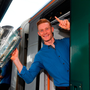 William O'Donoghue with the Liam MacCarthy Cup as the Limerick squad depart from Heuston Train Station