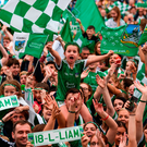 Limerick supporters including Molly O'Brien, age 7, from Oola, during the homecoming at the Gaelic Grounds