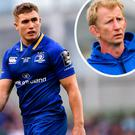 Jordan Larmour and (inset) Leo Cullen