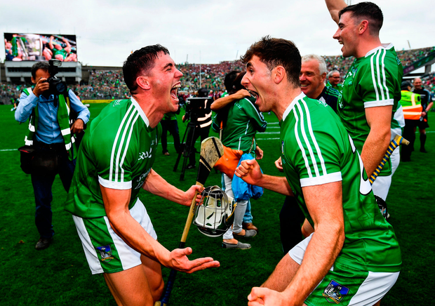 Seán Finn, left, and Barry Nash of Limerick celebrate last year
