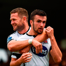 Michael Duffy, right, is congratulated by his Dundalk team-mate Dane Massey