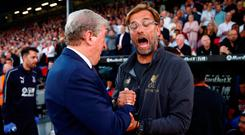 Crystal Palace manager Roy Hodgson with Liverpool manager Jurgen Klopp