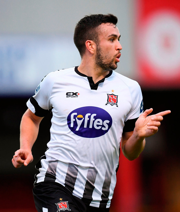 Michael Duffy of Dundalk celebrates after scoring his side's first goal. Photo: Sportsfile