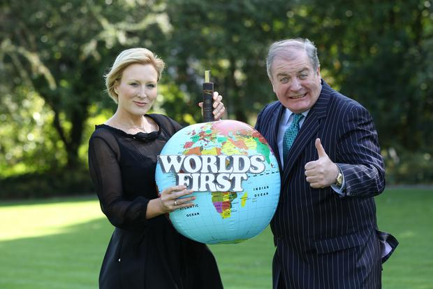 Noelle O'Connor with Gavin Duffy on Dragons' Den Ireland