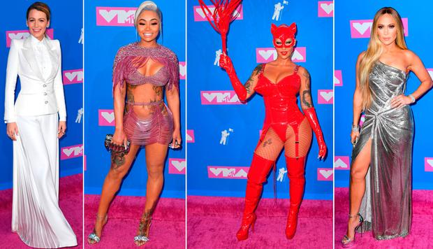 (L to R) Blake Lively, Blac Chyna, Amber Rose and Jennifer Lopez at the 2018 MTV VMAs