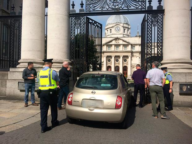 The scene of the crash at Government buildings Photo: Caroline Quinn