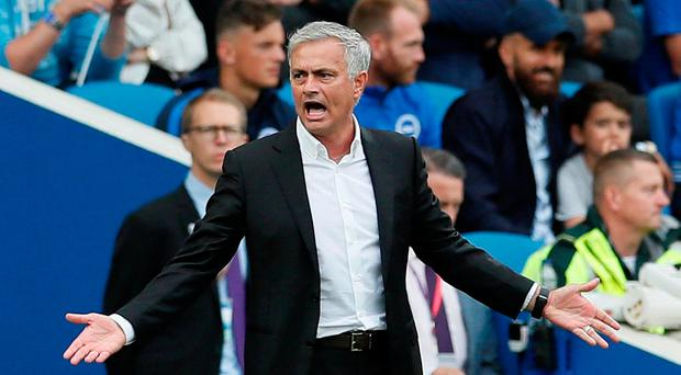 Manchester United manager Jose Mourinho during his side's defeat to Brighton