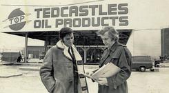 John Reihill (right) at Top Oil's Dublin terminal in the 1970s