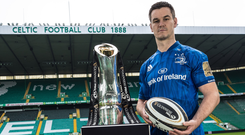 Johnny Sexton will be hoping to be back at Celtic Park as Leinster captain for the Guinness PRO14 final. Photo: INPHO