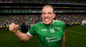Shane Dowling of Limerick celebrates following the GAA Hurling All-Ireland Senior Championship Final between Galway and Limerick at Croke Park in Dublin.