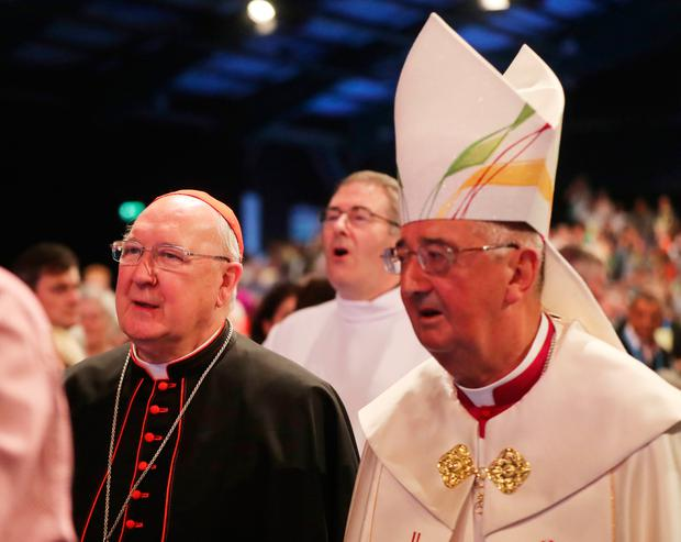 Cardinal Kevin Farrell (left) and Archbishop Diarmuid Martin during the opening ceremony of the World Meeting of Families at the RDS in Dublin. Photo: Niall Carson/PA Wire