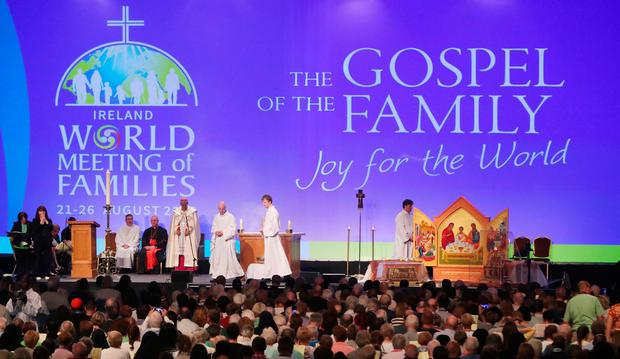 A general view of the opening ceremony of the World Meeting of Families at the RDS in Dublin. Photo: Niall Carson/PA Wire