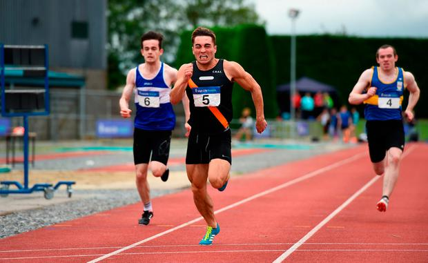 GOING CLEAR: Leo Morgan, Clonliffe Harriers beats Finn Valley's Danny Browne, (left) to win the Premier Mens 100m National League Final at Tullamore Stadium. Photo by Barry Cregg/Sportsfile