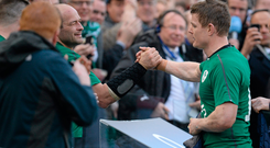 8 March 2014; Brian O'Driscoll, Ireland, gets a wink off teammate Rory Best after being substituted during the second half. RBS Six Nations Rugby Championship, Ireland v Italy, Aviva Stadium, Lansdowne Road, Dublin. Picture credit: Brendan Moran / SPORTSFILE