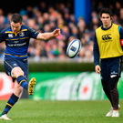 14 January 2018; Jonathan Sexton of Leinster kicks a conversion during the European Rugby Champions Cup Pool 3 Round 5 match between Leinster and Glasgow Warriors at the RDS Arena in Dublin. Photo by Ramsey Cardy/Sportsfile
