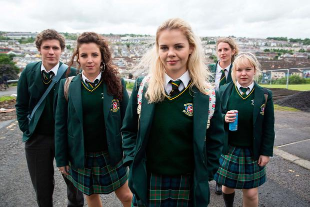 Back to school: Jamie-Lee O'Donnell with her fellow class-mates in Derry Girls