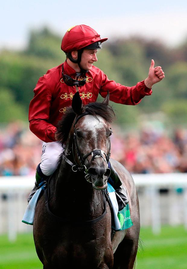 Oisin Murphy celebrates on Roaring Lion. Photo credit: Tim Goode/PA Wire