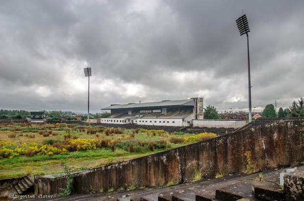 Pictures of the derelict Casement Park that were posted on the Antrim GAA Twitter feed. Casement Park has been closed since the summer of 2013