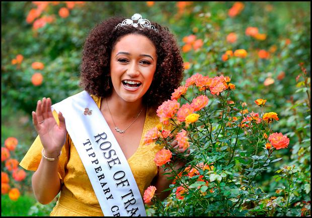 Newly crowned 2018 Rose of Tralee Kirsten Mate Maher, pictured after being welcomed into the Rose Garden in Kerry as per the tradition of the international festival. She said she is proud of her Kilkenny and Zambian roots. Photos: Steve Humphreys