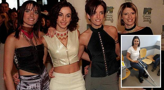 B*Witched in 1999 | Inset: Bride Lyndsey Pardoe who ended up with casts on both legs after getting