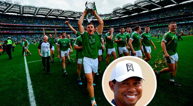Limerick celebrate their All Ireland win and (inset) Tiger Woods