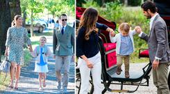 Crown Princess Victoria and Prince Daniel of Sweden walk their daughter Princess Estelle to her school, left, and Prince Carl Phillip, Princess Sofia, and Prince Alexander of Sweden at his first event, right