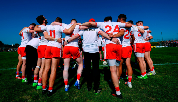Mickey Harte and his Tyrone players continue to present a united front. Photo: Stephen McCarthy/Sportsfile