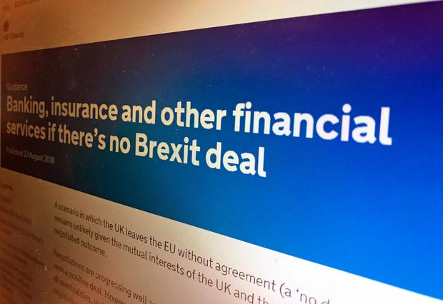 A screenshot of one of the first batch of no-deal Brexit preparation papers. Photo: PA