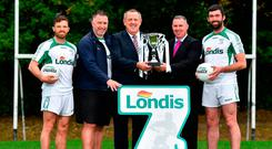 Joe McMahon, Johnny Magee and Chris Barrett (right) with Kilmacud Crokes chairman Sean Fox and Londis sales director Conor Hayes at the launch of this year's Londis 7s, which will be played on September 1. Photo: Sportsfile