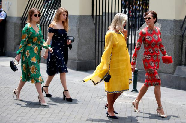 Princesses Beatrice and Eugenie arrive to the wedding of Prince Christian of Hanover and Alessandra de Osma at Basilica San Pedro on March 16, 2018 in Lima, Peru. (Photo by Raul Sifuentes/Getty Images)