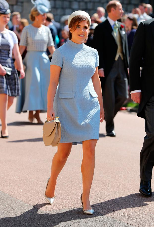 Princess Eugenie arrives at St George's Chapel at Windsor Castle before the wedding of Prince Harry to Meghan Markle on May 19, 2018 in Windsor, England. (Photo by Gareth Fuller - WPA Pool/Getty Images)