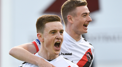 Darragh Leahy, left, of Bohemians is congratulated by teammate Daniel Kelly after scoring the first goal during the Irish Daily Mail FAI Cup Second Round match between Galway United and Bohemians at Eamonn Deacy Park, in Galway.